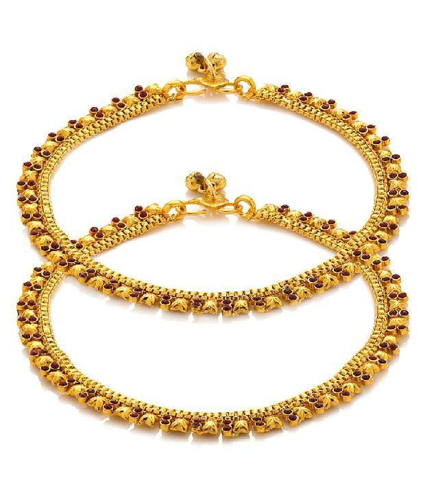 Voylla Gold Plated Leafy Design Anklets Studded With Traditional Stones