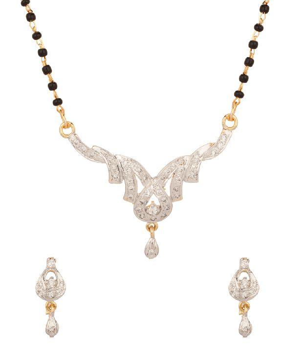 Voylla Sparkling Cz Studded Gold Plated Mangalsutra Set