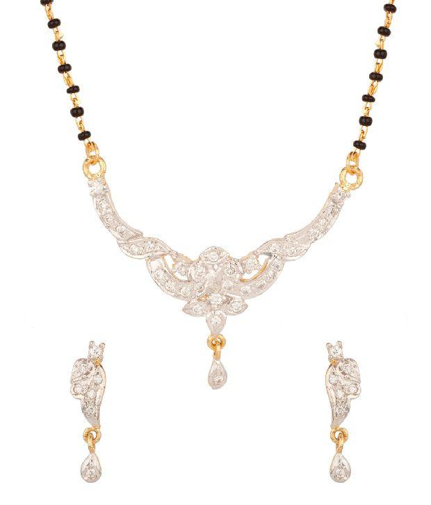 Voylla Stunning Sparkly Floral Cz,Bead Mangalsutra Set