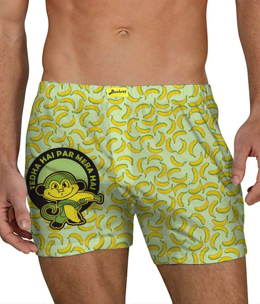 Bushirt Tedha Hai Par Mera Hai Green Mens Boxer Shorts