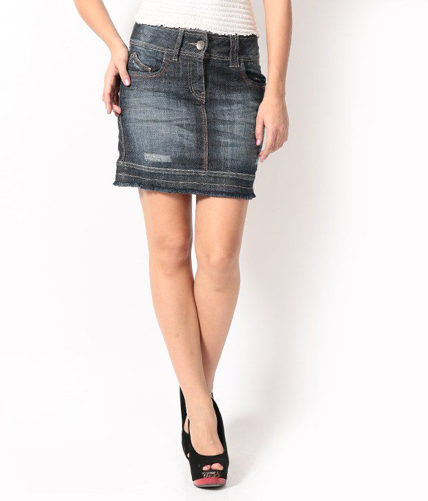 Buy Species Blue Denim Skirts Online at Best Prices in India ...