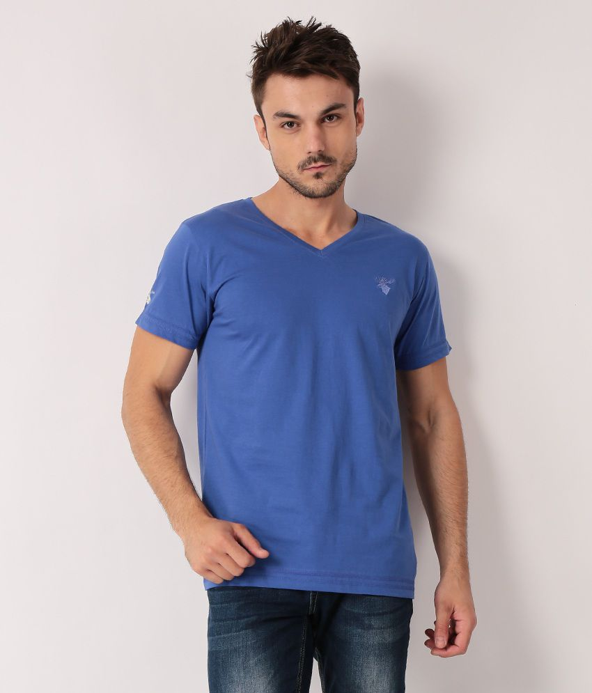 TrueDesign Blue Half Cotton V-Neck  T-Shirt