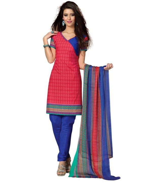 Aaditi Pink Printed Art Crepe Dress Material