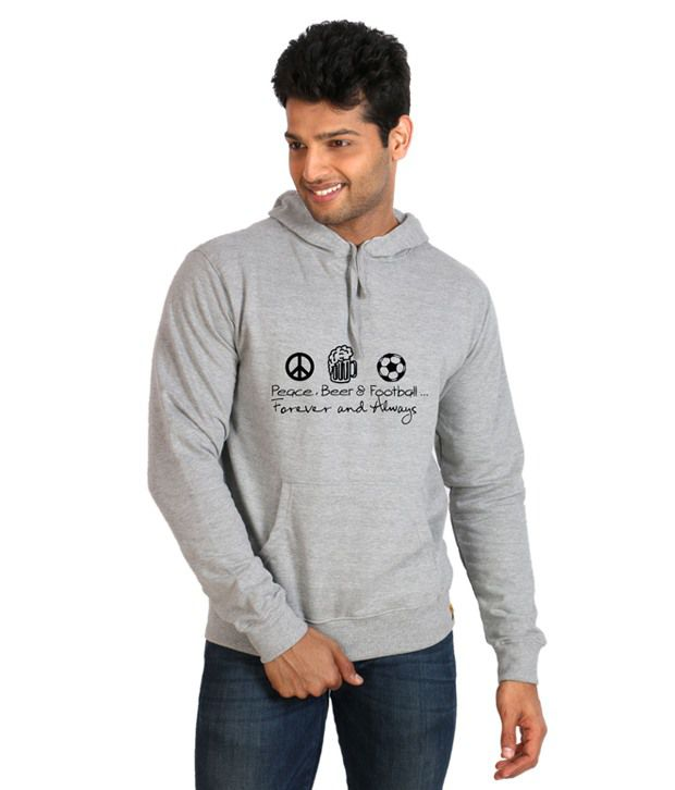 Campus Sutra Gray Full Cotton Hooded  Sweatshirt