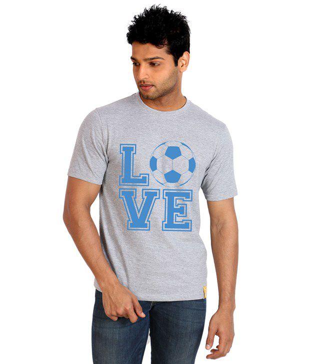 Campus Sutra Gray Half Cotton Round  T-Shirt