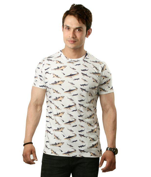 Sapphire Shark Print Half Cotton Round  T-Shirt