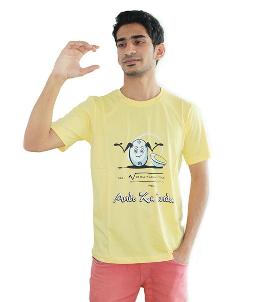 TakilaShop Yellow Half Cotton Round T-Shirt