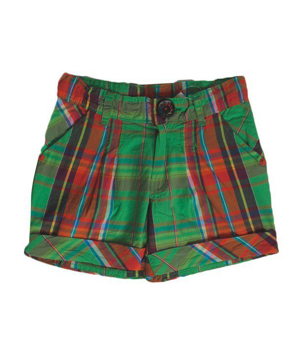 Vitamins Green Color Checks Shorts For Kids