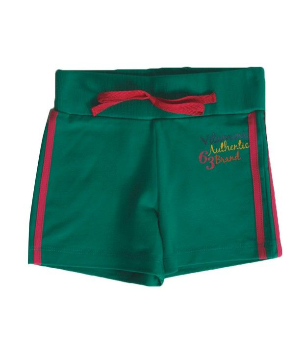 Vitamins Green Color Solid Shorts For Kids