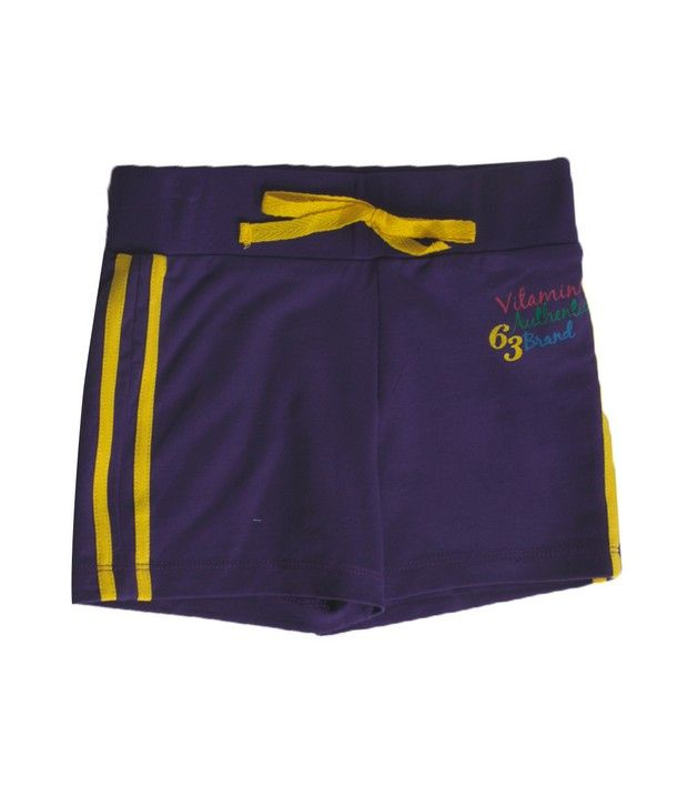 Vitamins Purple Color Solid Shorts For Kids