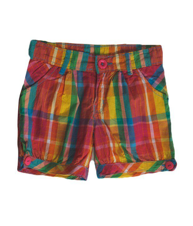 Vitamins Yellow Color Checks Shorts For Kids