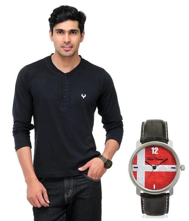 Phoenix Black Full Cotton Henley  T-Shirt