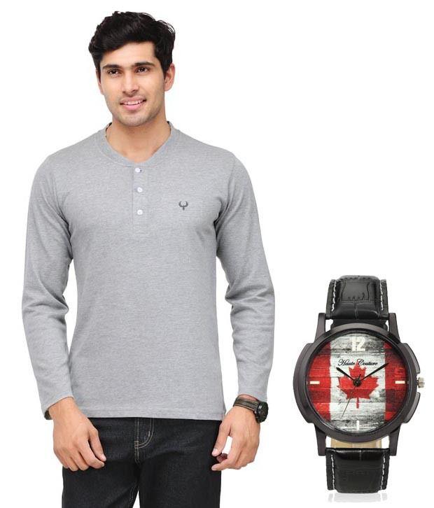Phoenix Gray Full Cotton Henley  T-Shirt