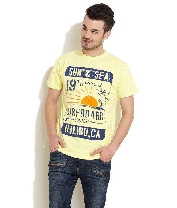 Riot Yellow Half Cotton Round T-Shirt