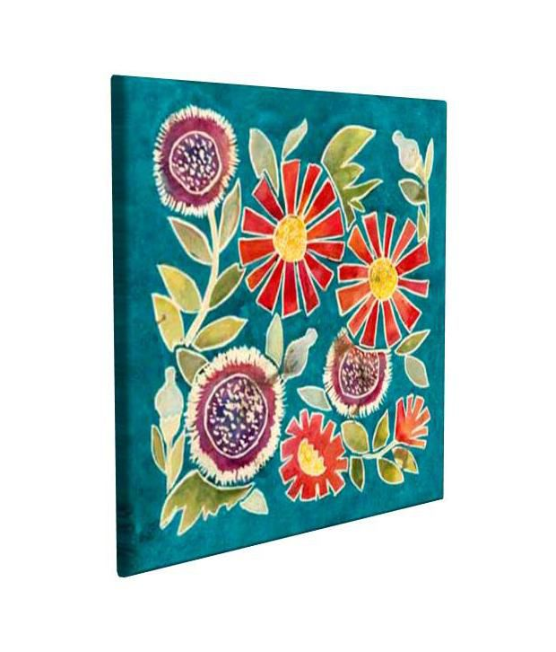 Artjini Emma Floral II Multicolour Canvas, Frame - Wood Paintings-Floral
