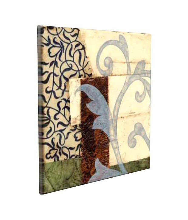 Artjini Quilted Scroll I Multicolour Canvas, Frame - Wood Paintings-Floral