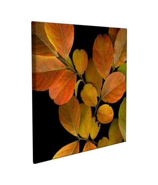 Artjini Small Vivid Leaves I Multicolour Canvas, Frame - Wood Paintings-Floral