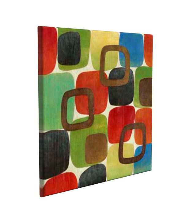 Artjini Textured Squares Multicolour Canvas, Frame - Wood Paintings-Abstract