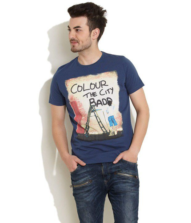 In The Closet Blue Half Cotton Blend Round T-Shirt