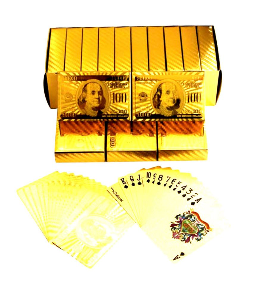Gold Plated Plastic Playing Cards (Dollar 100 Printedgood Quality)