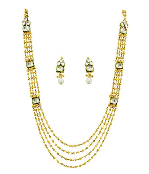 Orniza Elegant Kundan Necklace Set with Ball-Chain