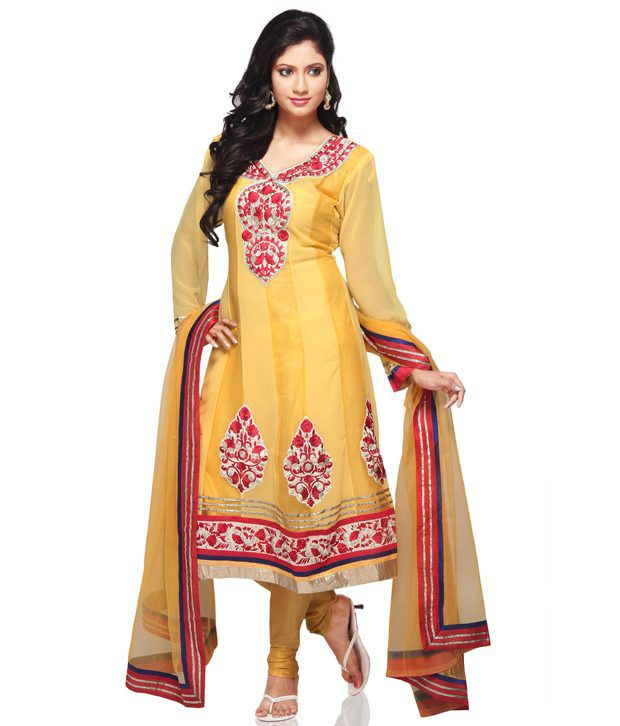 Utsav Fashion Yellow Embroidered Faux Georgette Stitched Anarkali  Salwar Suit
