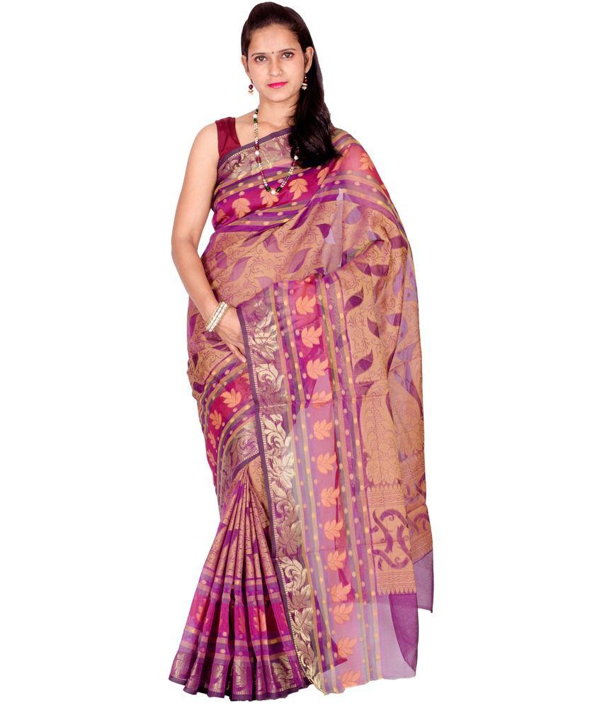 Chandrakala Purple Cotton Saree
