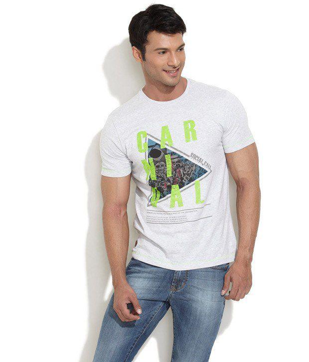 Numero Uno Gray Half Cotton Blend Round T-Shirt