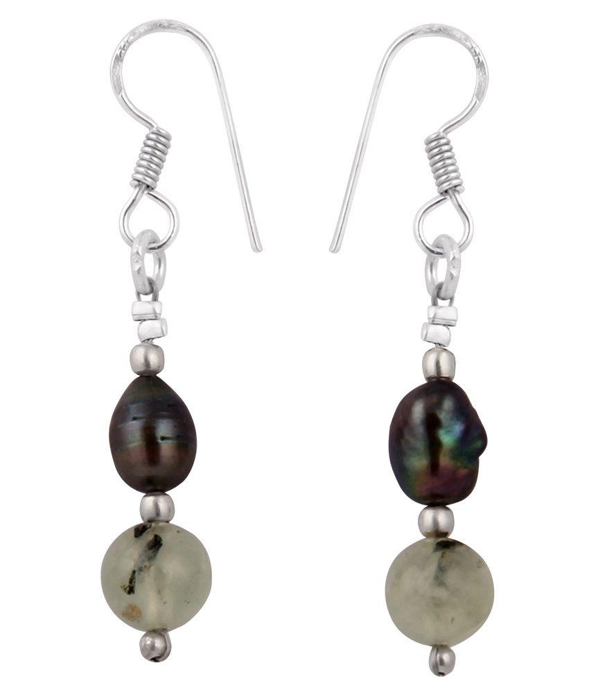 Pearlz Ocean 2.5 Inch Black Fresh Water Pearl & Prehnite Gemstone Beads Earrings
