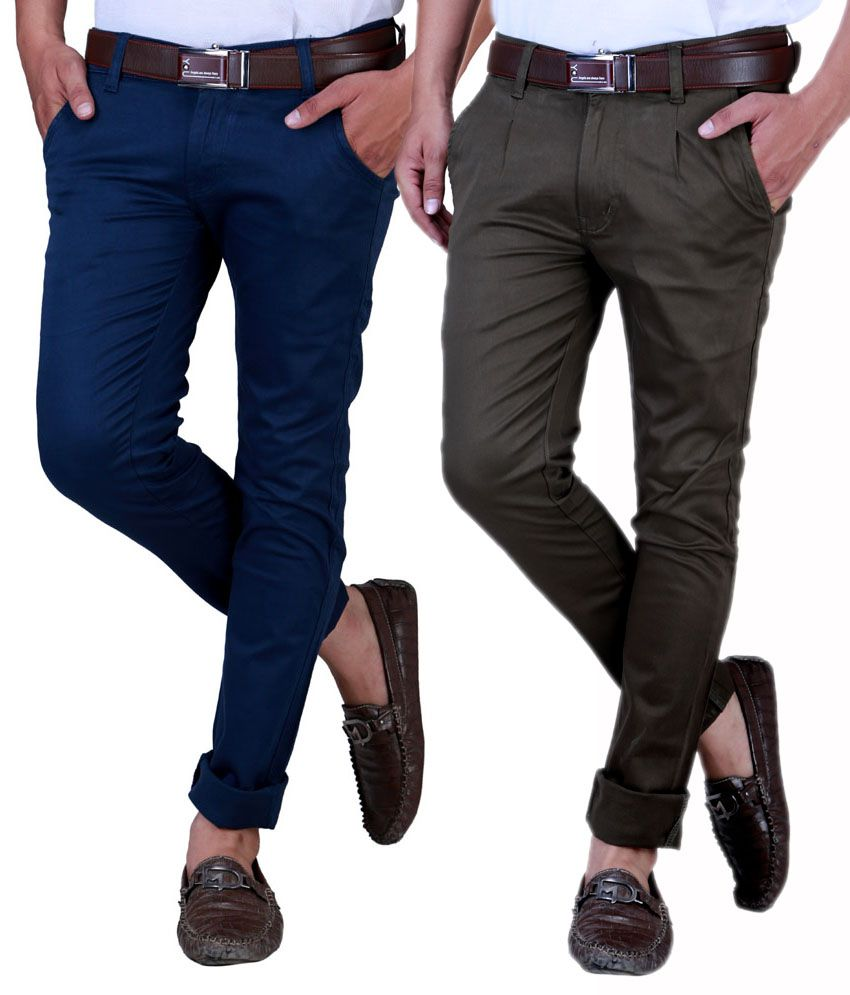 Sam & Jazz Royal Blue & Raisen   Green Regular Casuals Combo of 2   chinos