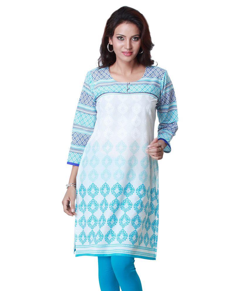 Ark Blue Printed Cotton 3/4th Sleeves Medium  Kurti