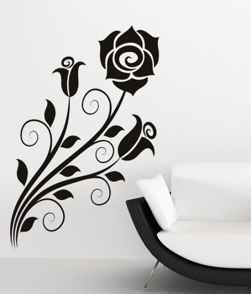 Destudio rose flower wall art stickers and wall decal for Black and white rose wall mural