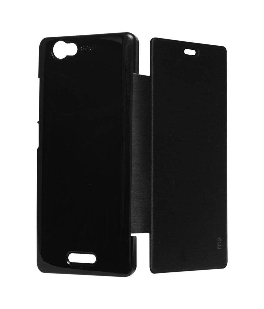 online retailer df96e 57268 Esstain Premium Leather Flip Cover Case For Sony Xperia M2 Dual Black