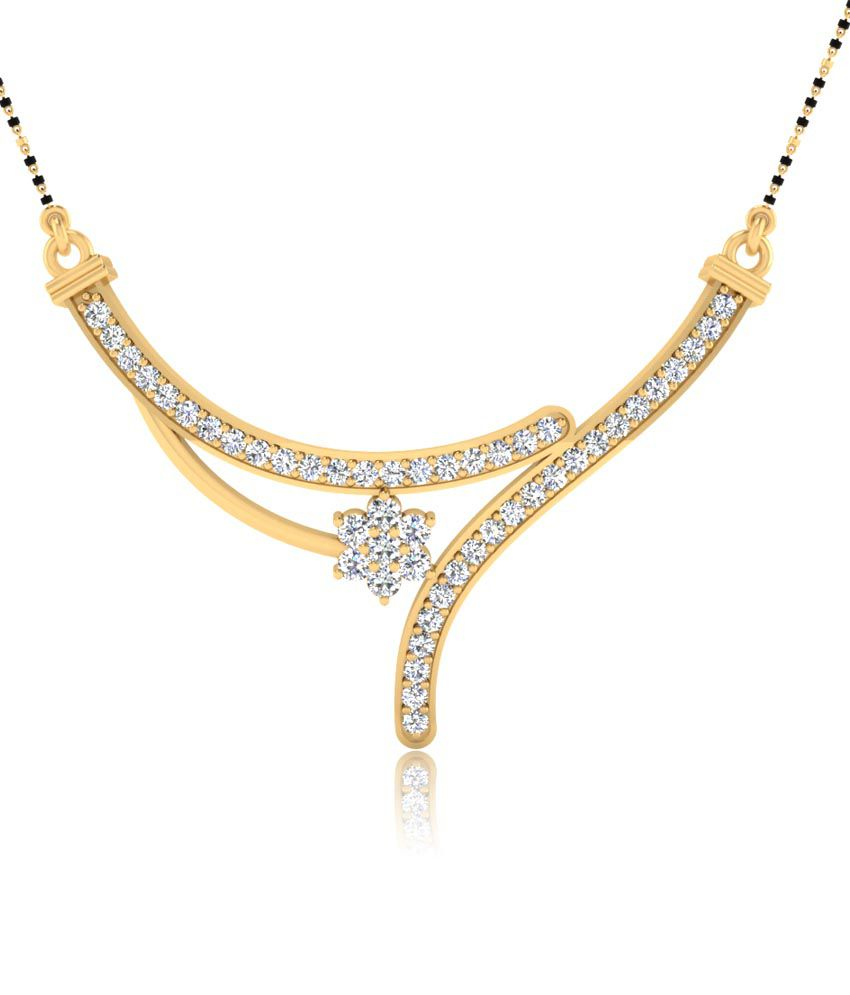 Forever Carat Real Diamond 0.88ct Mangalsutra in 100% Certified 14kt Gold