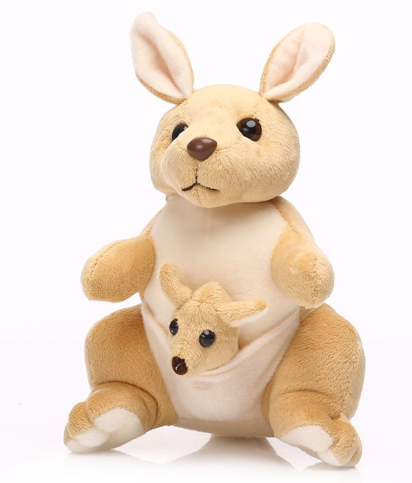 Soft Toys Product : Kangaroo with baby in pouch creamish brown soft toy cm