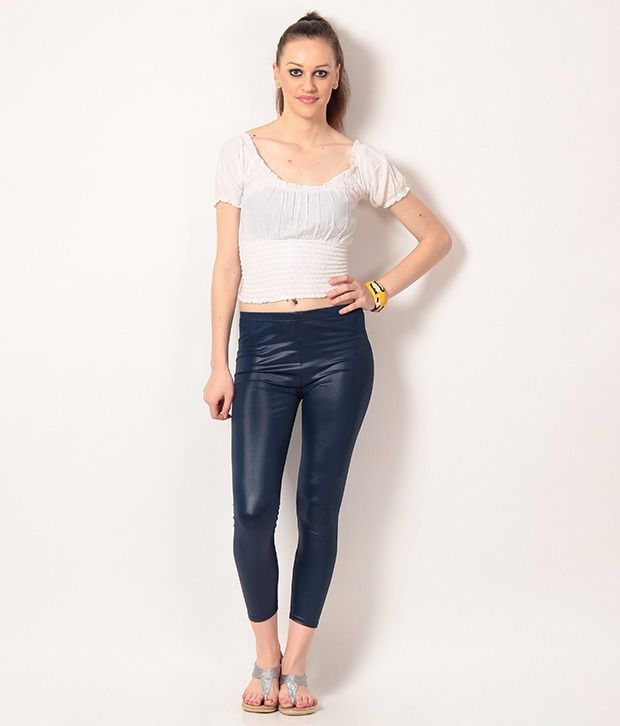 28363c07f7308d Buy Nitein Blue Synthetic Jeggings Online at Best Prices in India - Snapdeal