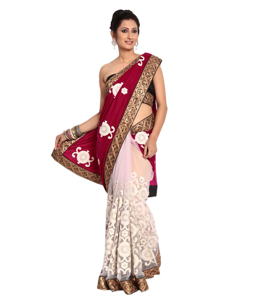 Shubham Maroon Embroidered Pure Georgette Saree