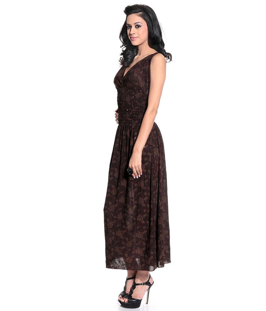 be3bd3ad107 Karishma Brown Party Polyester Long Maxi Dress - Buy Karishma Brown ...
