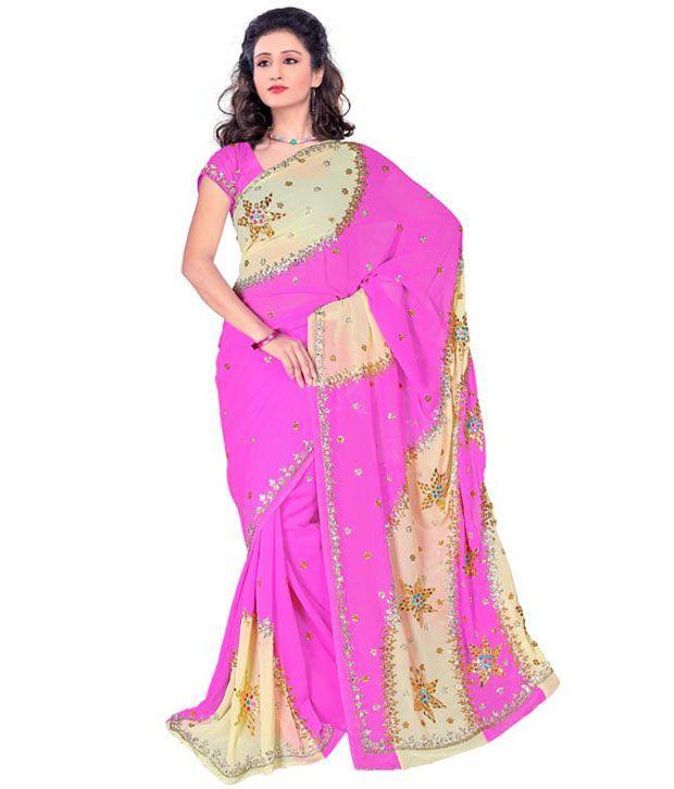 Sparkling Drop Pink Embroidered Semi Chiffon Saree