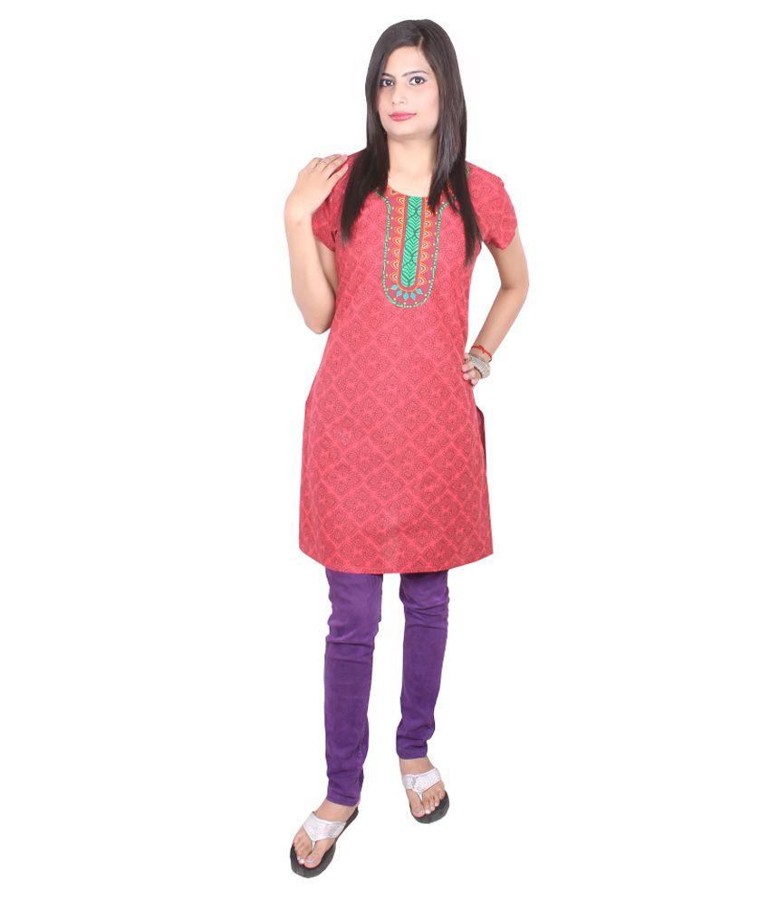 Go Ethnic Red M Cotton Half Long  Kurti