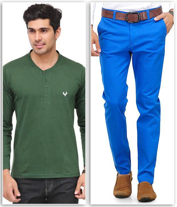 Phoenix Combo Of 1 Olive Henley T Shirt And 1 Blue Slim Fit Chinos