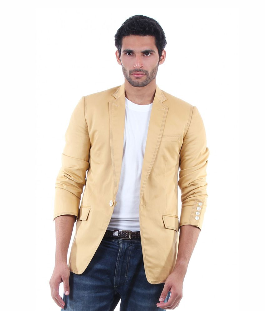 Viavero Cream Full Cotton Blazers & Evening Jackets