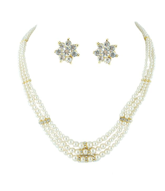 Golden Collections Moti Necklace Set -3 Line