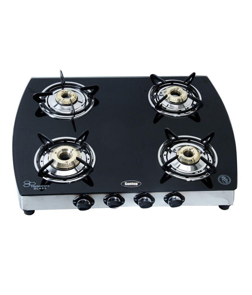 Gas Cooktop Glass Suntop 4 Burner Glass Top Gas Stove Price In India Buy Suntop 4