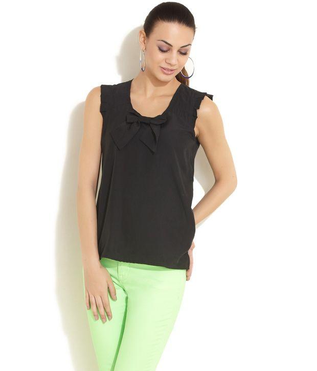 Bazel Black Polyester Top