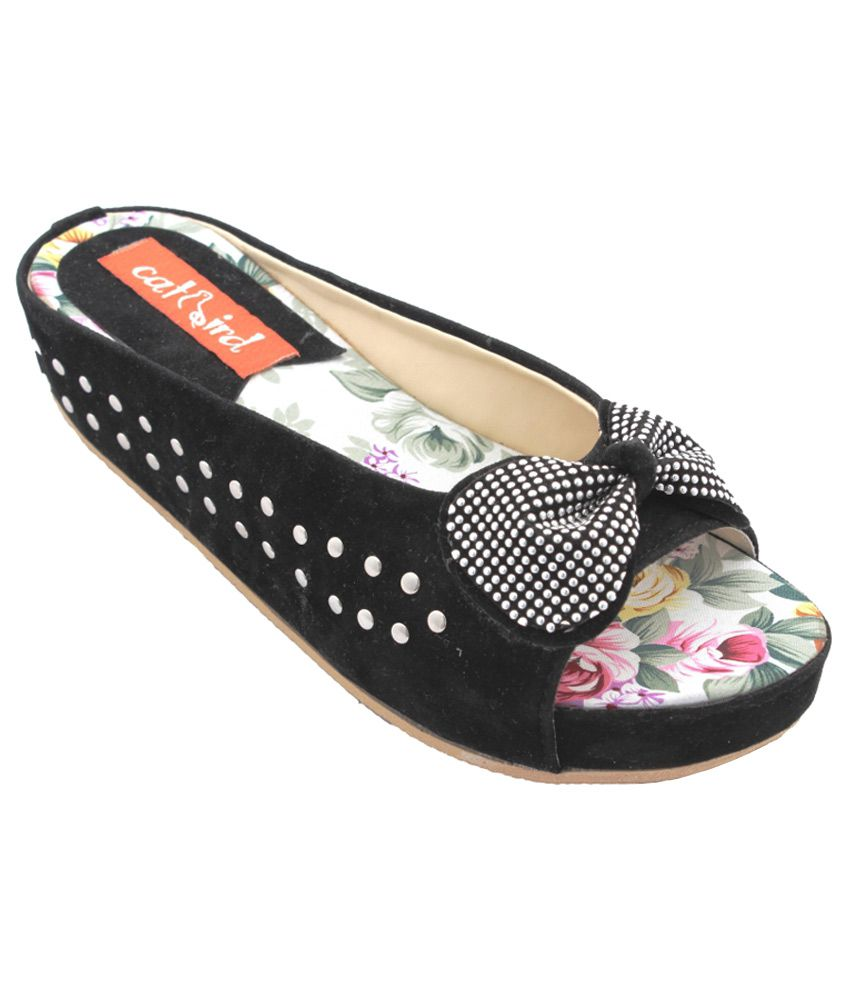 CatBird Black Wedges Heeled Slip-On