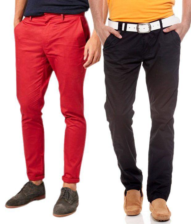 Fashion Red Regular Casuals Chinos