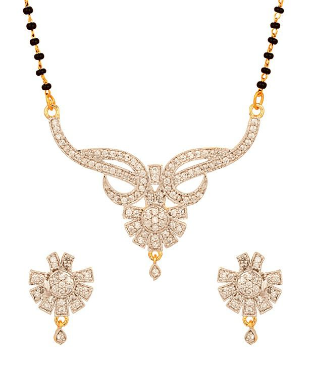 Voylla Gold Plated Glorious Floral Mangalsutra Set
