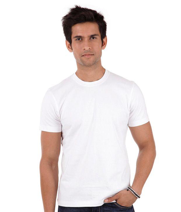 99 Tshirts White Half Cotton Round  T-Shirt