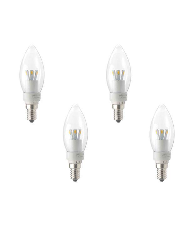 4W Led Candle Bulb E14 Base Yellow Light Pack 4 Buy 4W Led